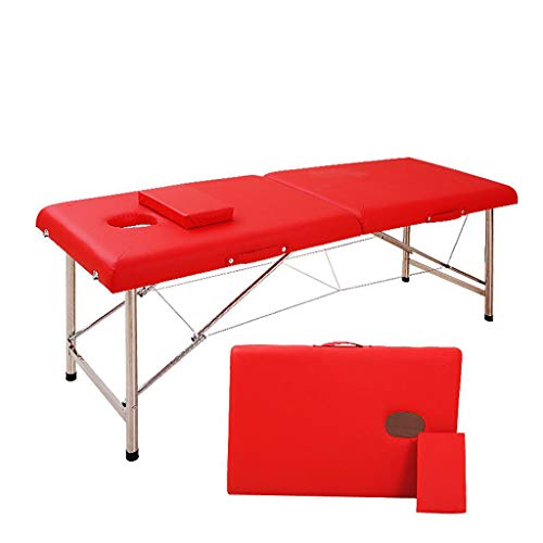 ZEDICN Stabil Professionell Spa Massage Tabellen Faltbar Salon Möbel PU Bett Dick Schönheit Massage Tabelle-Rot-180 * 60 * 65Cm -