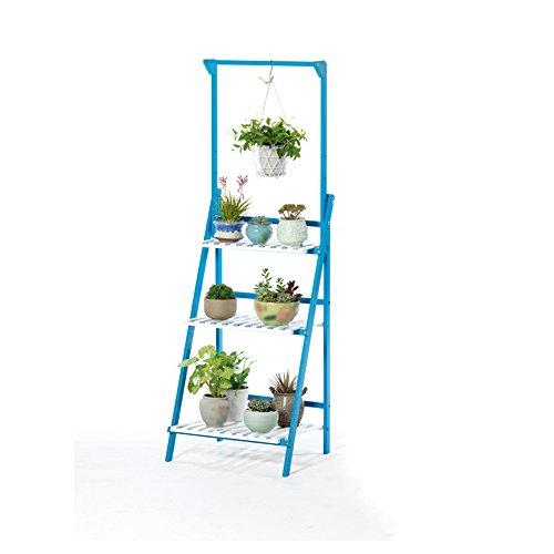 Salle de séjour suspendue à étages à étages / étagère en bois massif balcon cadre de lit simple ( Couleur : Bleu et blanc , taille : 50*40*145cm )