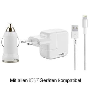 iProtect Premium SET 3 in 1 Zubehör mit 10W Power Netzteil Adapter / Charger + USB Ladekabel / Datenkabel / Connector + KFZ / LKW Adapter für iPad MINI, iPod Touch 5G, iPod Nano 7G - mit neuem 8 Pin Anschluss - in WEISS / weiß