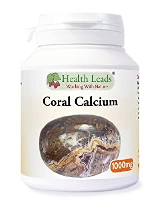 High Strength Coral Calcium 1000mg x 70 capsules (100% Additive Free Supplements) by Health Leads UK