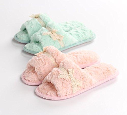 Auspicious beginning Pattini di peluche di modo delle donne di inverno pattini Slipper-fuori pattini esterni del panno Verde