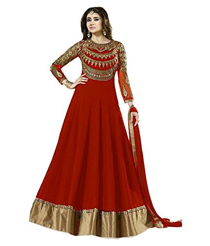 Suits for Women Indo-Western Red Party Wedding Wear Floor Length Gown/ Anarkali Suit/ Salwar Suit
