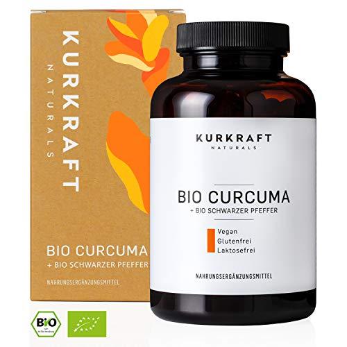 Kurkraft® Bio Kurkuma (Curcuma) - 4440mg Bio Curcuma + schwarzer Pfeffer je Tagesdosis - Curcumin + Piperin in Bio-Qualität - Laborgeprüft - Vegan - Hochdosiert - Hergestellt in Deutschland