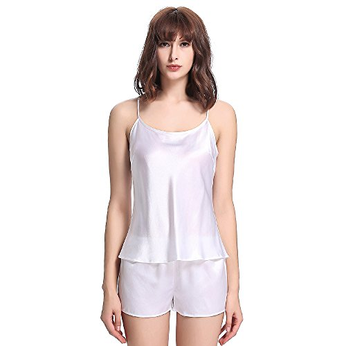 LilySilk Set Canotta Corta Donna Di 22 Momme Pura Seta Elegante Bianco