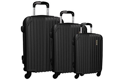 3 Maletas rígidas PIERRE CARDIN negro 4 ruedas cabina para viajes VS214