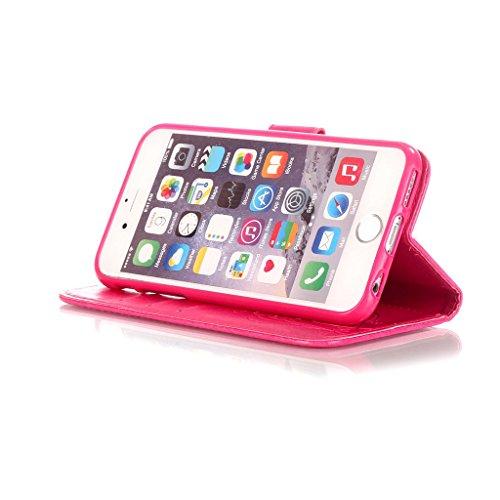 CareyNoce iPhone SE/5S/5 Coque,Arbre Plume Pissenlit Fleur Retro Painted Embossed Pattern Conception Flip Housse Etui Cuir PU Coque pour Apple iPhone SE iPhone 5S iPhone 5 (4.0 pouces) -- Gris Plume T24