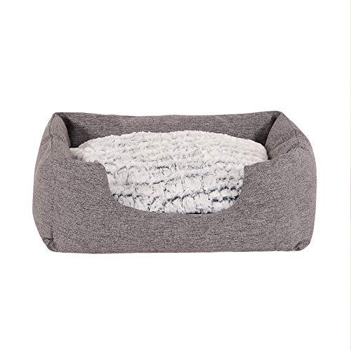 Hundebett Hundekissen Hundekörbchen mit Wendekissen meliert Größe S 60x50 cm Farbe grau