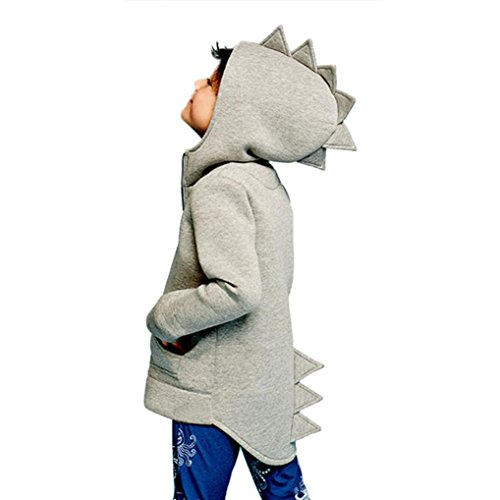 Yannerr Niños infantil bebé Abrigos Chaqueta estilo dinosaurio capucha abrigo ropa (100, gris)