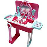 Toyzrin Princess Mirror Durable Dressing Vanity Portable Table Up With Music Sound And Light Glamour Beauty Makeup Pretend Role Play Set Toy For Kids