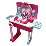 #8: Toyzrin Princess Mirror Durable Dressing Vanity Portable Table up with Music Sound and Light Glamour Beauty Makeup Pretend Role Play Set Toy for Kids