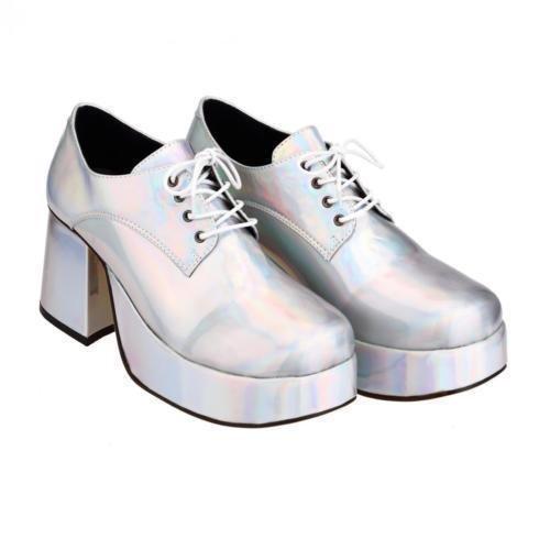 sowest Fancy Dress Mens 70er Jahre 80er Jahre Party Plattform Weiß Silber Gold Schuhe -