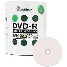 Smart comprar paquete de 100DVD-R 4,7GB 16x blanco imprimible Inkjet medios en blanco Record Disco de disco, 100unidades)