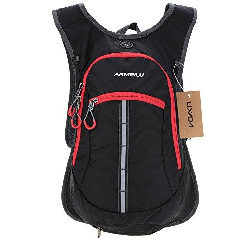 Lixada Wasserabweisend Schulter Fahrrad Rucksack für Mountain Radreisen Wandern Camping Wassertasche (schwarz)