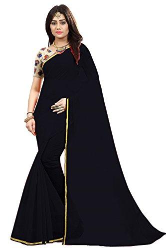 Radiance Star Women's Black Color Chanderi Saree With Kalamkari Printed Blouse Piece...