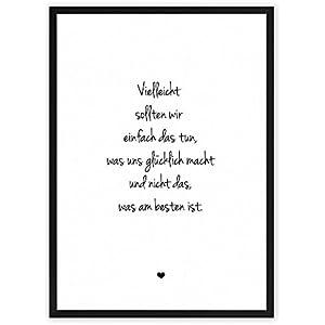 Weg zum Glück: tun, was glücklich macht ★ Lebensweisheit - einzigartiger Kunstdruck mit Spruch auf wunderbarem Hahnemühle Papier DIN A4 (optional A3 und A2) -ohne Rahmen- schwarz-weiß - Typografie Wandbild Fine-Art-Print Dekoration Geschenk Geschenkidee Geburtstag Hochzeit Spruch-Bild Poster Plakat Home Deko shabby chic vintage retro Regeln für Zufriedenheit & Glück
