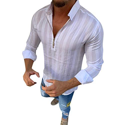 Langarm Striped Hemd Herren Oversize Zip Hemd Henley Shirt Sommer Casual Hemden Leichte Atmungsaktives Bequem -