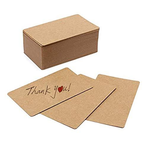 Sodial 100 pezzi di carta kraft in bianco biglietti da visita carta di word card messaggio carta regalo diy