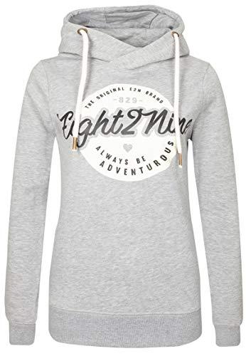 Eight2Nine Damen Sweat-Hoodie mit Front-Print und Kapuze Light-Grey M