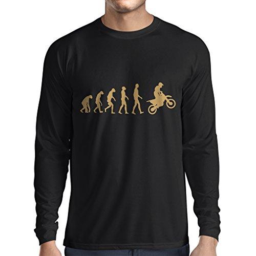 Langarm Herren t Shirts Motocross-Entwicklungs-Schmutz-Fahrrad, Motorrad-Gang, laufende Abnutzung, Motorrad Weg von Roading (Large Schwarz Gold)