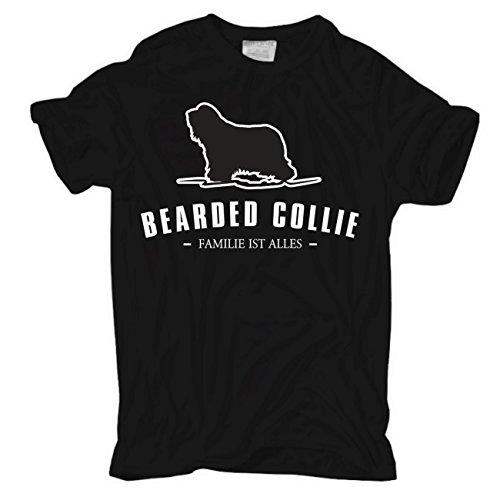 Männer und Herren T-Shirt Bearded Collie - Familie ist alles Körperbetont schwarz