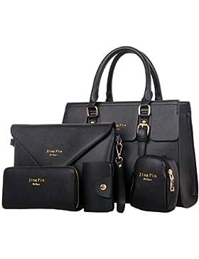 HENGSONG Damen Elegant PU Leder Handtasche Set Taschen Tote Schultertasche Umhängetasche Geldbeutel 5pcs Beutel