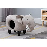 Hallowood Animal Elephant Foot Stool for Kids, Toy Storage Chest/Ottoman/Seat with Cat Hole, Wood, Foam, Linen, ANI ELE1