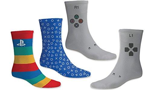 numskull PS1/2/3/4 Socken - 3 einzigartige Paare in verschiedenen Playstation Designs - OneSize (UK 6 -11 / EU 39 - 46) Baumwolle