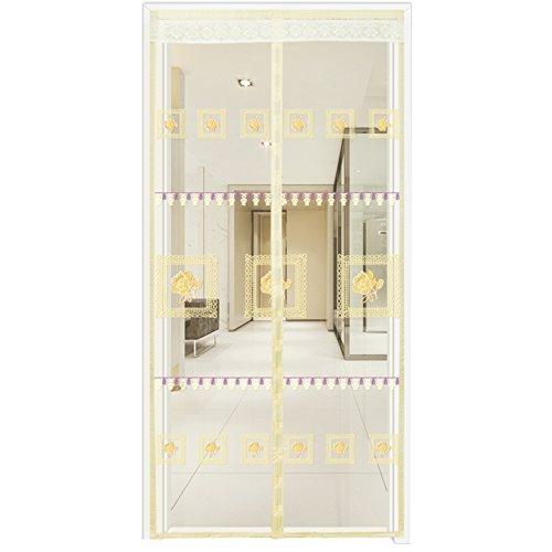 Aik@ facile da installare rinforzato zanzariera a tenda magnetica per porte con telaio completo in velcro,estremamente resistente tenda anti zanzare magnetica-beige ricamato 100x210cm(39x83inch)