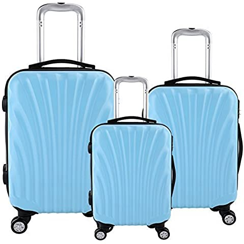 28 24 20 inch Travel Luggage Suitcase 4 Wheel Cabin Trolley Set (20 24 28 inch, Shell & Blue Color) by WindMax