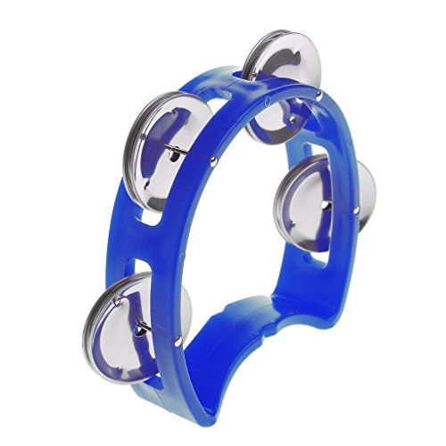 Fogun Hand Tambourin Halbmond Form (Tambourine, Pecussion, 4 Paar verchromte Schellen, Kunststoff) , Blau