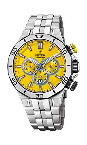 Festina Unisex Erwachsene Chronograph Quarz Uhr mit Edelstahl Armband F20448/A