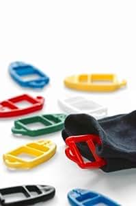 SUPI Sockenklammern Sockenclips Sockenhalter - cleveres Patent aus Finnland - stoffschonend - 15 Stück - je 5 in den Farben rot + blau + gelb