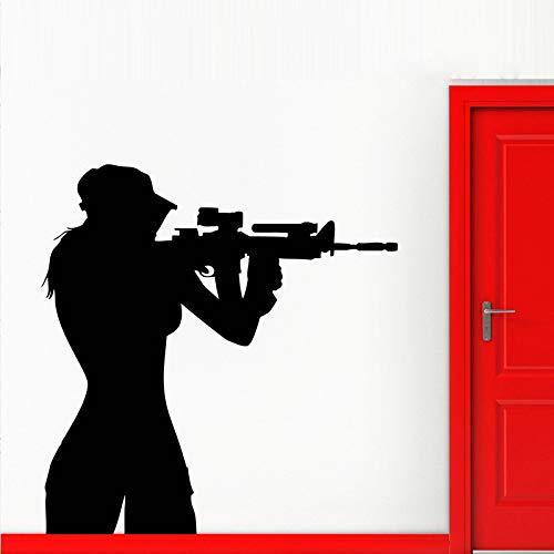 jiuyaomai Teen Sniper Shooter Armee Mädchen Entfernbare Wandaufkleber Für Wohnzimmer Hintergrund Kunst Decor Vinyl Tapete Aufkleber Poste schwarz 42X68 cm (Knöpfe Für Teens Kommode)