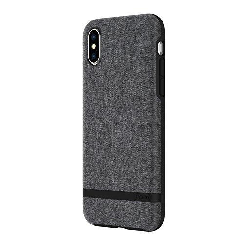 Incipio [Esquire Series Carnaby Schutzhülle für Apple iPhone Xs / X - grau [Qi kompatibel/Oberfläche aus Baumwolle/Robuste Hartschale/Edle Optik/Hybrid] - IPH-1631-GRY