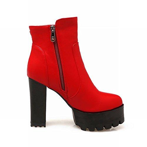 Mee Shoes Damen kurzschaft Reißverschluss Plateau chunky heels Stiefel Rot