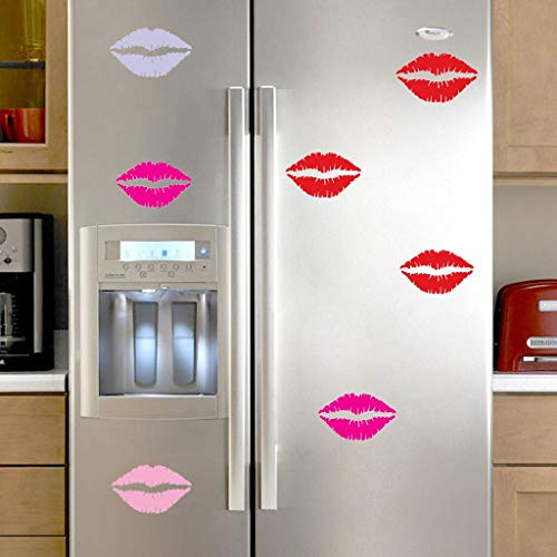 Yallylunn Sexy Lips Sticker Fridge Happy Delicious Kitchen Fridge Wall Stickers Art Stereo Wandaufkleber Einzigartig SchmüCken Abnehmbare Selbstklebend Tapete 3Pcs