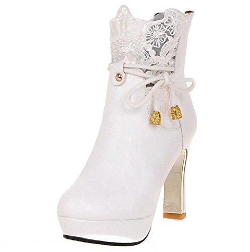 AllhqFashion Damen Hoher Absatz Niedrig Spitze Rein Reißverschluss Stiefel mit Lesbie Weiß