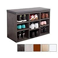 RICOO WM035-BG-A Shoe Rack 3 Tier Wooden Bench for Wardrobe Organiser Storage Box Cabinet Cupboard Stand Shelf with Seat | Concrete Effect Look Wood and Grey Cushion