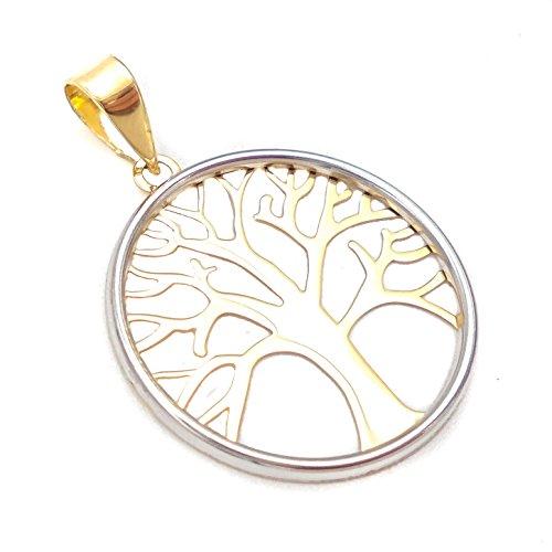 21ea746f7abc Teresa Barrio Colgante de moda para mujer en oro de 18 kilates de 1ª ley  750milésimas, medalla con filo oro blanco calada y árbol de la vida en oro  ...