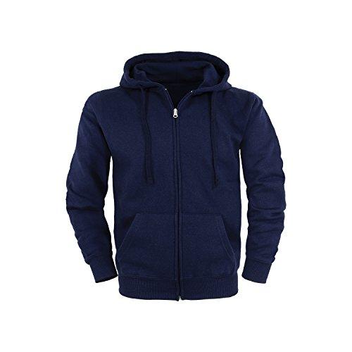 Basic Felpa con cappuccio Cerniera lampo Hoodie / taglie S / colori blu marino