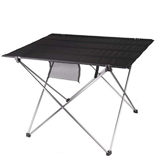 NJ Table Pliante- Table Pliante en Aluminium portative extérieure, Table de Pique-Nique BBQ pour Camping (Couleur : Noir, Taille : 75x55x52cm)