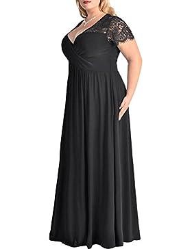 iShine Vintage Donna Vestito Estivi Manica Corta Pizzo Scollo a V Lunghe Eleganti Abito da Sera Vestito