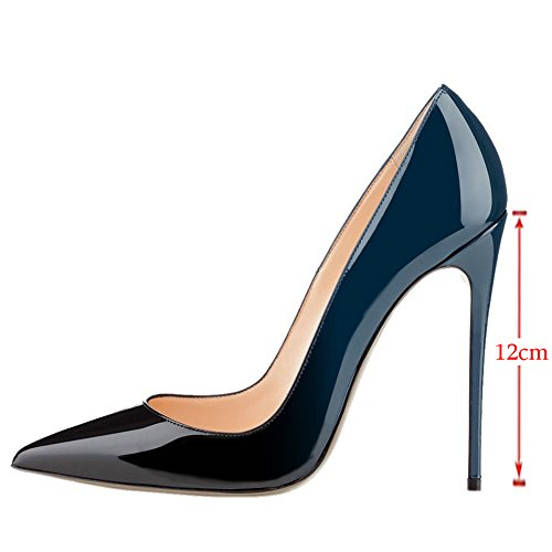 EKS - Scarpe con Tacco Donna Blu (Blau-schwarz-12cm)