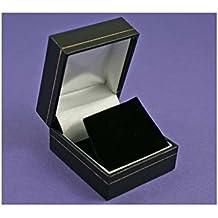 Pendientes de cuero sintético negro caja