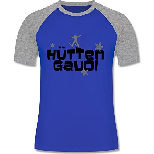 Shirtracer Après Ski - Hüttengaudi Skifahrer - Herren Baseball Shirt Royalblau/Grau meliert