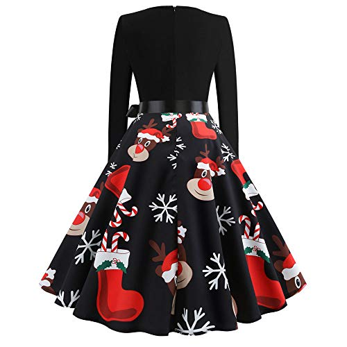 Weihnachten Kleider Damen UFODB Frauen Weihnachtskleid Kleid Swing Taille Slim Cocktailkleid Retro Schwingen Party Partykleid Festlich Christmas Dress - 2