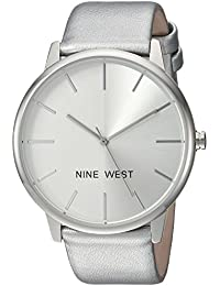 Nine West Women's NW/1997SVSV Silver-Tone Strap Watch