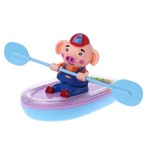 Senoow Cartoon Piggy Bootfahren Uhrwerk Paddel Rudern Kunststoff Schwein Baby Bad Pool Wasser Schwimmende Spielzeug Kinder Geschenk ungiftig