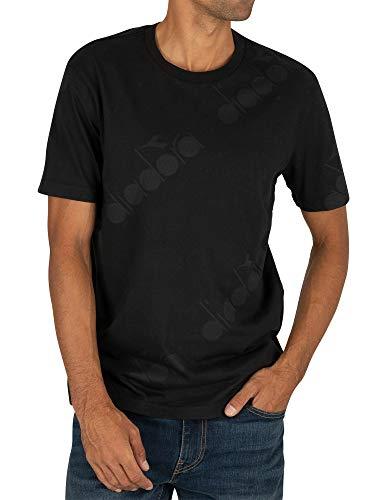 Diadora Herren T-Shirt SS 5PALLE AOP Schwarz, Größe S -