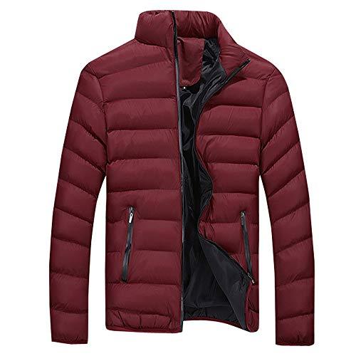 Herren Winterjacke Steppjacke Sweatjacke Draussen Ständer Zipper Gesteppt Männer Winter Warm Freizeit Reißverschluss Tasche Daunenjacken Stehkragen Mantel Riou Sale (L, Rot)